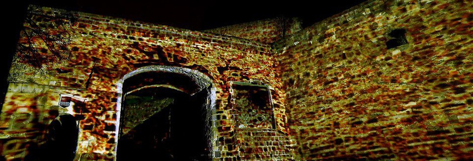 Light painting at the gate of the Castle of Eger